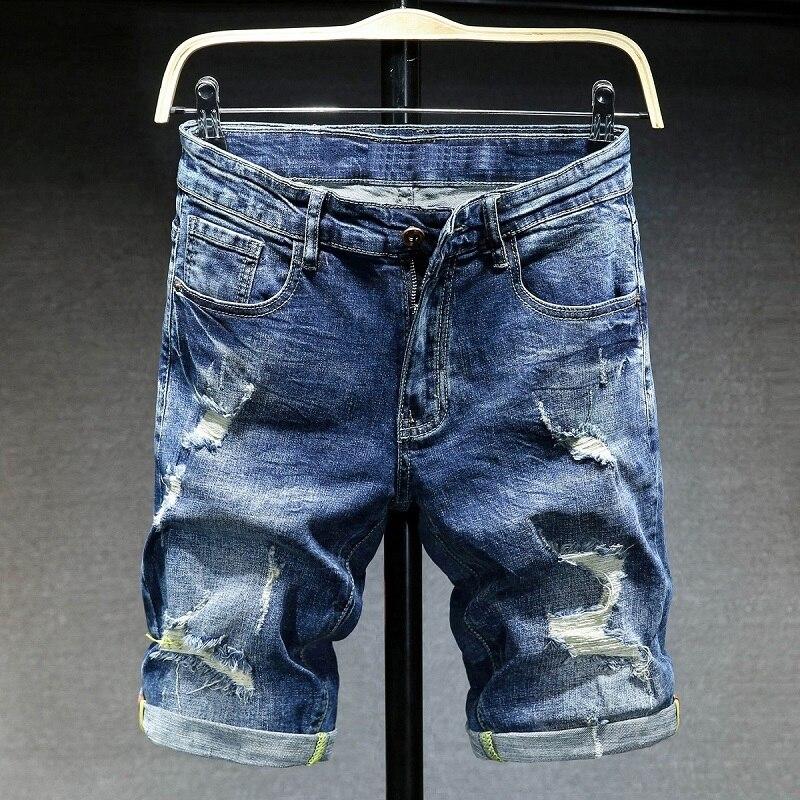 New Summer Men Holes Denim Shorts High Quality Stretch Jeans Shorts Men Slim Fit Blue Denim Shorts Knee Length Short Jeans