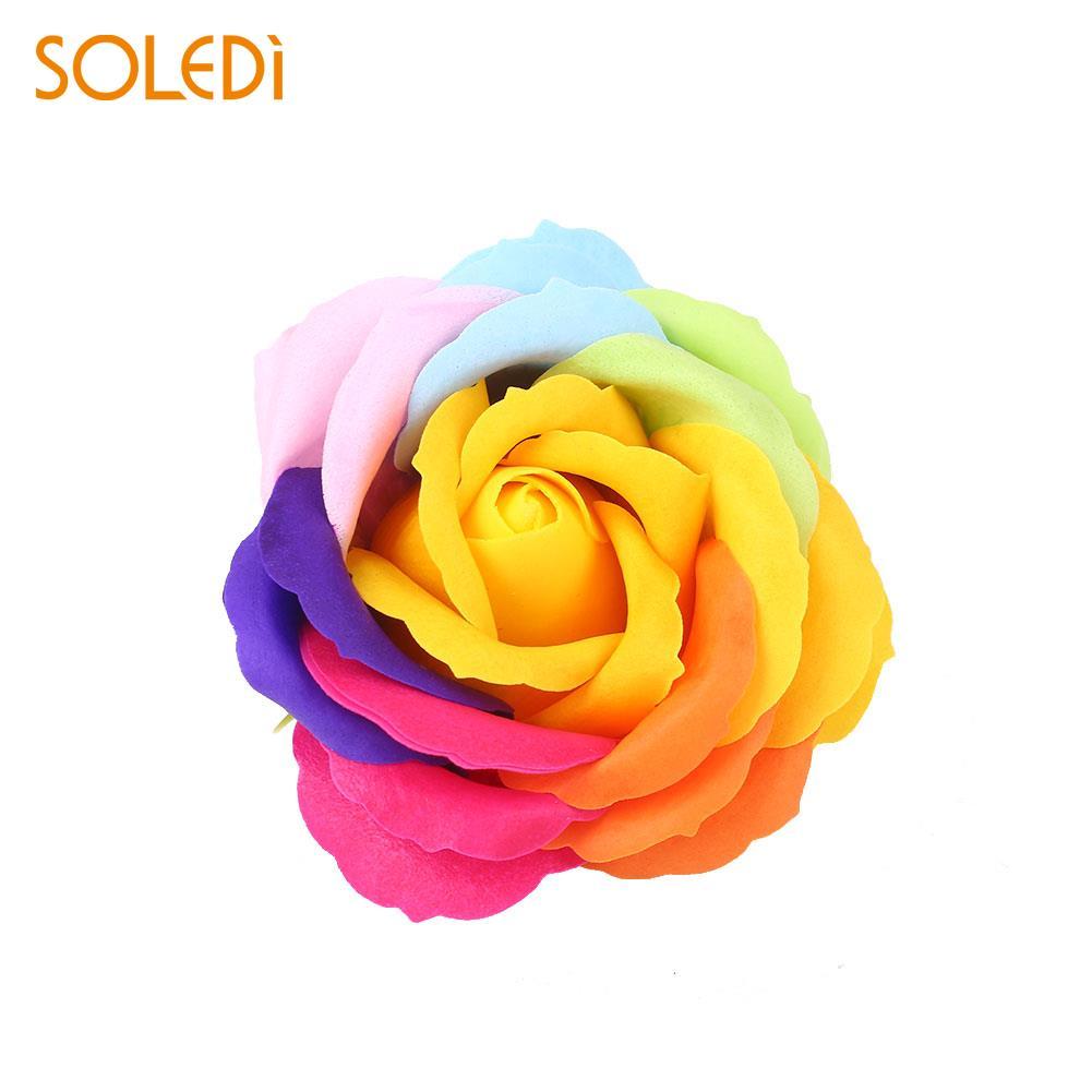 6 цветов, Подарочная коробка, искусственное Розовое Мыло, цветочный подарок, цветок, лепесток, День Святого Валентина, декор для отеля, вечерние, яркие, красивые - Цвет: yellow