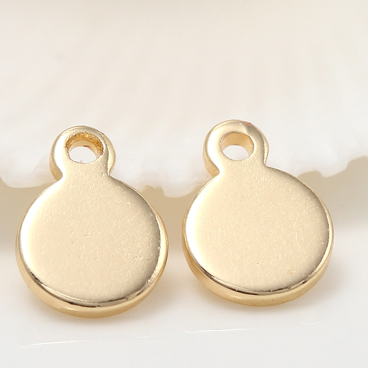 20PCS 6x8MM Hole 1MM 24K Gold Color Plated Brass Round Charms Pendants High Quality Diy Jewelry Accessories