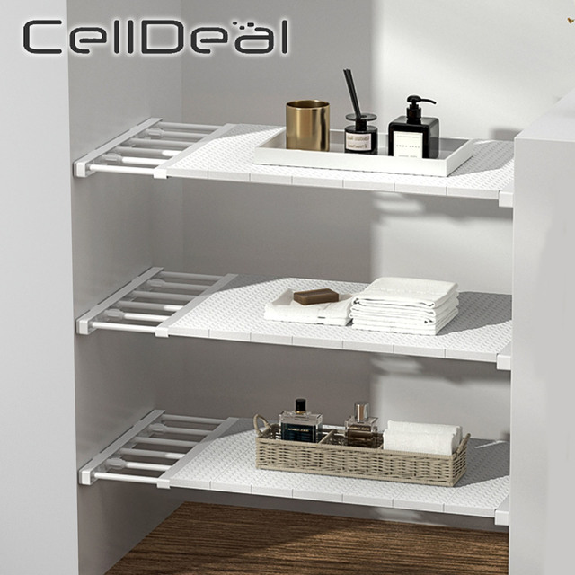 Adjustable Closet Organizer Storage Shelf Space Saving Wardrobe Wall Mounted Rack Kitchen Home Decorative Cabinet Holders