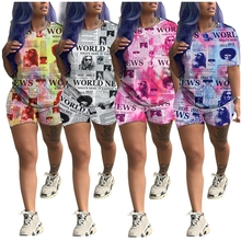 Old Newspapers Printed Two Piece Set Ensemble Femme Graffiti Loose Sexy Casual Bodysuit Women Clothing Tweed Short Sets
