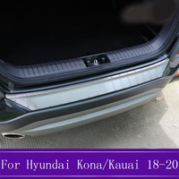 1Pcs For Hyundai Kona/Kauai Stainless Steel Outer Rear Bumper Protector Guard Plate Trim Cover Car Accessories 2018 2019 2020 fa