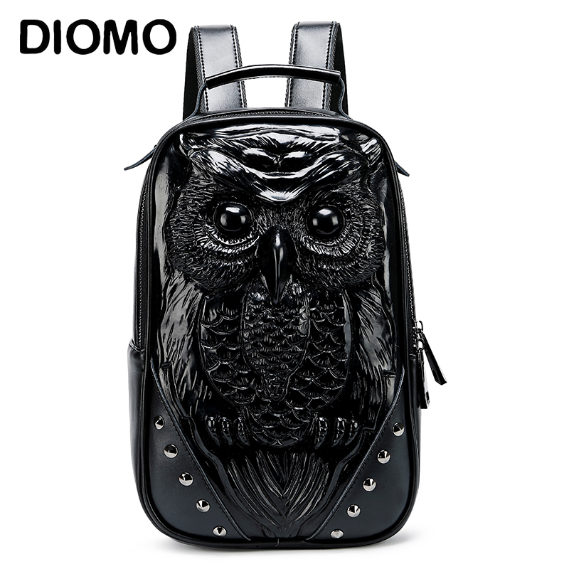 DIOMO New Animal Cool Women 3D Owl Small Backpack High Quality Ladies Backpack Purse Cute Black Daypack For Girls