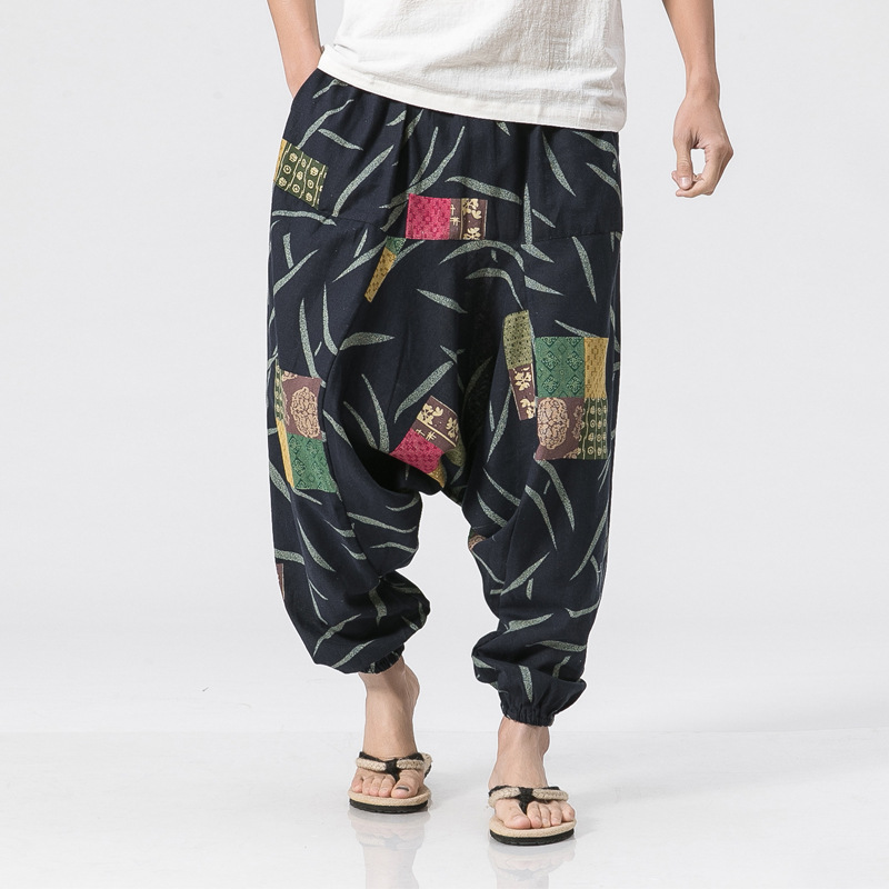 Summer Thailand Lantern Pants Men's Large Size Chinese-style Nation Flax Wide-Leg Flower Beach Loose-Fit Cotton And Linen Pants