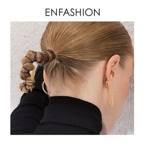 Image 5 - ENFASHION Punk C şekli zincir saplama küpe kadınlar için altın renk Minimalist bildirimi kulak manşet küpe moda takı E191091