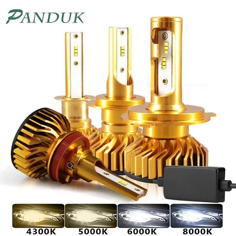 PAUNDUK Mini Canbus ZES H4 H7 LED Car Headlight 4300K 5000K 6000K 8000K 12V H3 H1 9005 9006 HB4 H11 12000LM Auto Fog Light Bulb