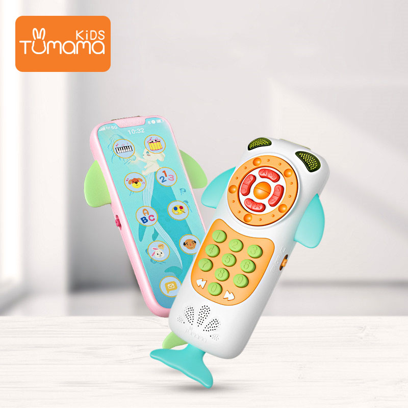 Tumama Baby Mobile Phone Whale Educational  Music Toys Cellphone Kid Educational Phone English Learning Mobile Phone Juguetes