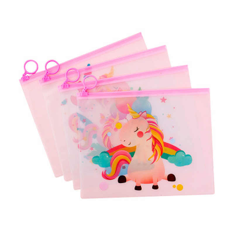 Unicorn Pencil Case Stationery Pink Zipper Pencil Pouch Cute Korean Bag Student Pen Case Stationery Pen Bag Kawaii File Holder