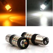 цена на LED Dual Color Switchback Turn Signal Light White Amber 2pcs 1157 4014 DRL Bulb 60SMD Automobiles Signal Lamps