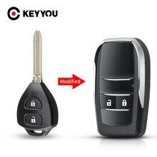 KEYYOU modificado Clave 2/3/4 botones Fob para Toyota Camry Reiz Rav4 Yaris Corolla 4Runner Avlo 2017 2019 Flip carcasa de llave a distancia de coche