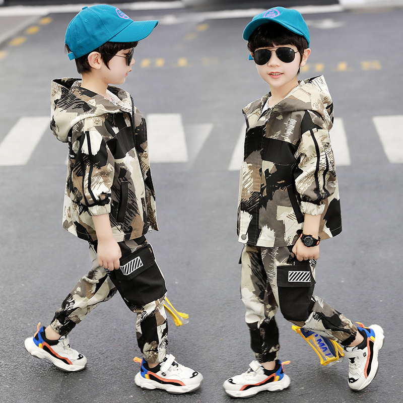 Children's Camouflage Clothing Garments Spring Fall New Boys Military Uniform Clothes Kids Hooded Coat + Casual Pants 2 Pcs X502