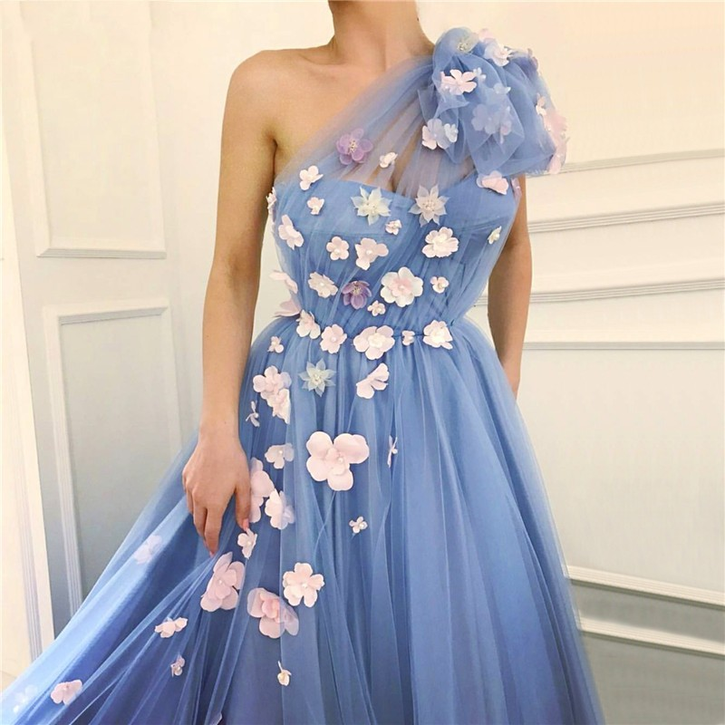 Fairy Blue Evening Dresses 2019 One Shoulder Handmade Flowers Pearls Tulle Graduation Party Long Evening Gowns Prom