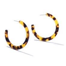 Big Tortoiseshell Cc Acrylic Za Leopard Earrings for Woman Multicolor Bohemia Circle Hoop Earrings Boho Stud  Large Drop Earring