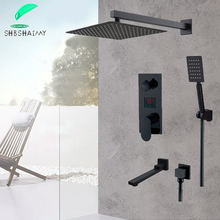 SHBSHAIMY Matte Black LED Digital Display Shower Faucet Set 8 10 12 16\