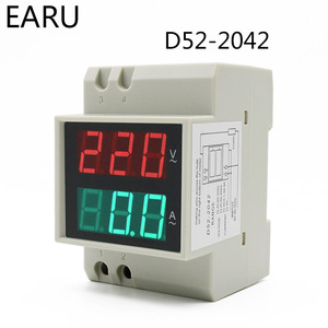 DIN Rail Led Display Voltmeter Amperemeter Ingebouwde Transformator AC80-300V 200-450V 0-100A Panel Voltage Stroom Meter Monitor Tester