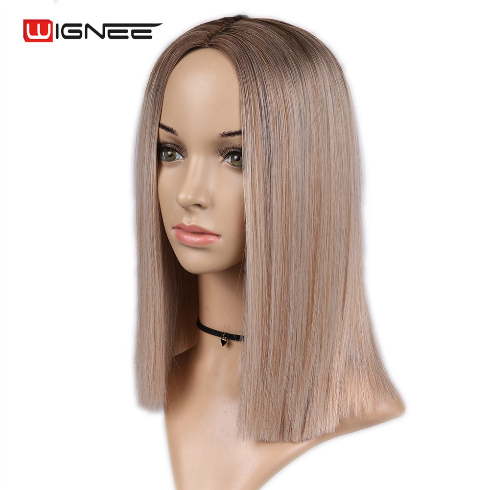 Hbe909d8e8333475a85916f0700500463s - Wignee 2 Tone Ombre Brown Ash Blonde Synthetic Wig for Women Middle Part Short Straight Hair High Temperature Cosplay Hair Wigs