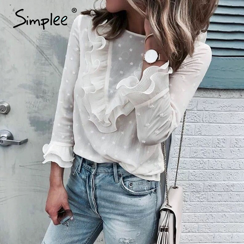 Simplee Elegant Ruffled White Women Blouse Shirt Vintage Floral Female Spring Tops Shirts Long Sleeve Office Ladies Casual Tops