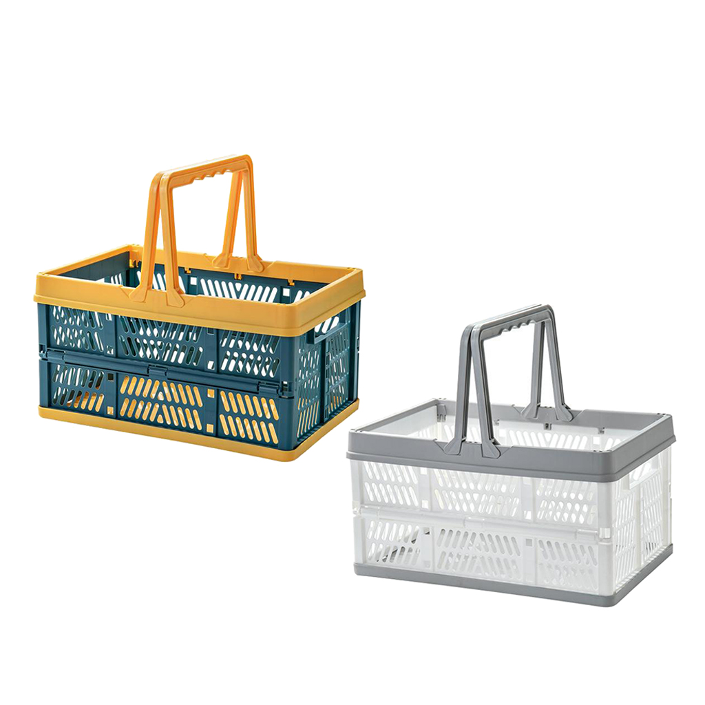 Collapsible Grocery Shopping Basket Container Plastic Folding Storage Crate Stackable Bin