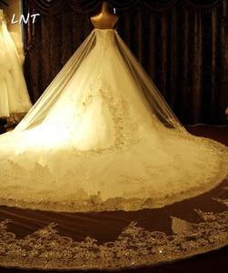 Image 3 - Vestidos de casamento cristais luxuosos, vestidos de casamento com trem traseiro destacável, vestidos de noiva plus size