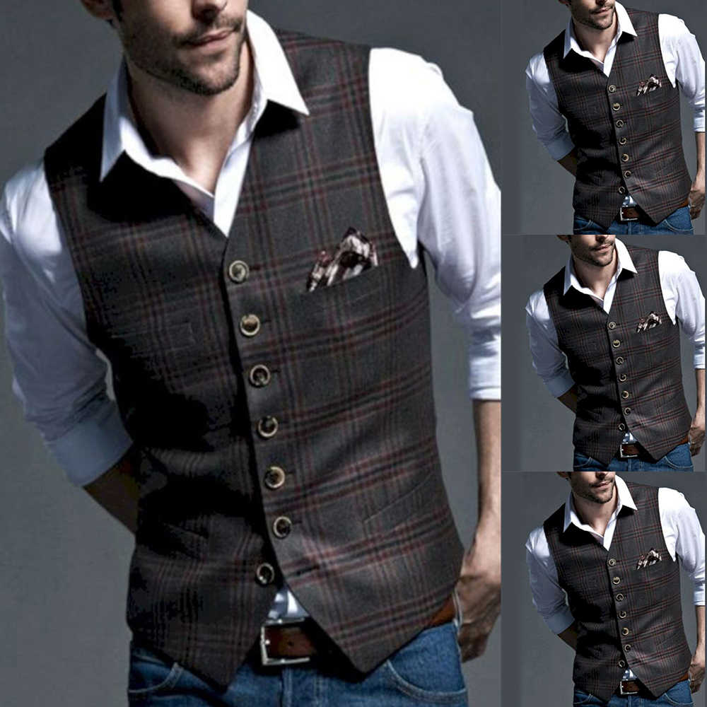 Classic British Style Suit Vest Men Tweed Formal Suit Vest For Wedding Party Slim Fit Vintage Business Waistcoat For Groomsmen