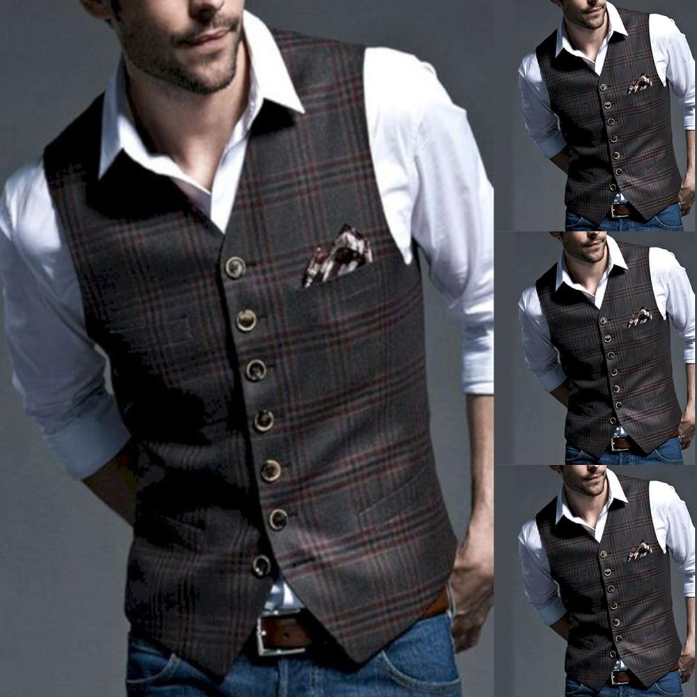 Classic British Style Suit Vest Men Tweed Formal Suit Vest For Wedding Party Slim Fit Vintage Business Waistcoat For Groomsmen