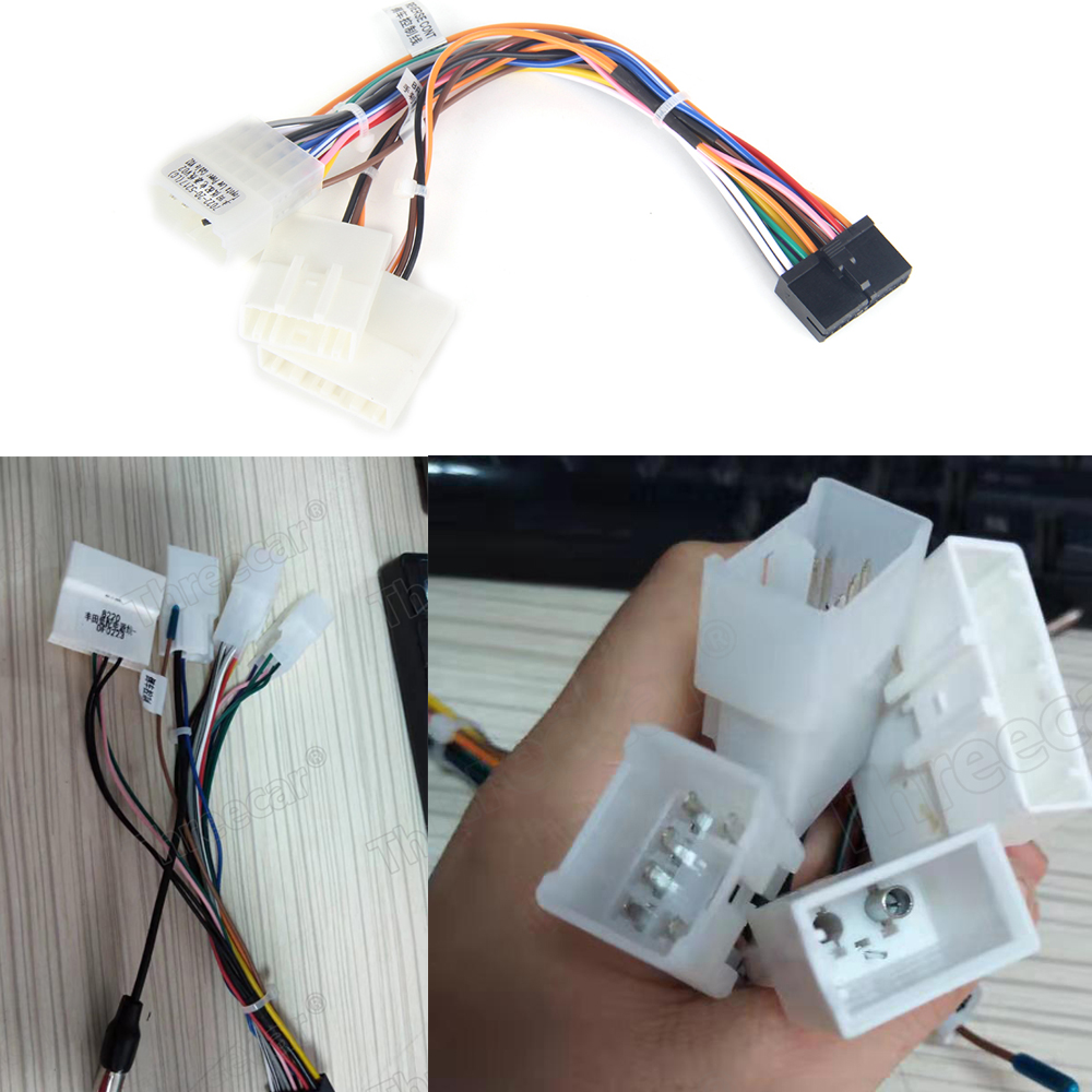 Car Head Unit Wire Harness Adapter Car Stereo Radio Power Connector For Toyota Car Android Radio Harness(China)