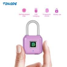 Towode Mini keyless USB Charging Fingerprint Smart Padlock for  Door Footprint padlock Locker Box Cabinet Drawer lock