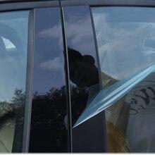 Conjunto de estilo do carro 6/8 pçs/set preto espelho efeito da janela do carro pilar posts capa guarnição para rav4 corolla/corrimão 6/8 camry