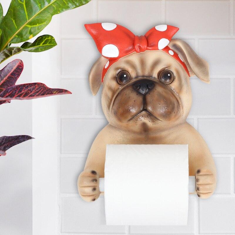 Resin Cartoon Dog Animal Shape Wall Hanging Tissue Case Creativity Tissue Paper Towel Tube Seat 3D Paper Towel Dispenser Rack