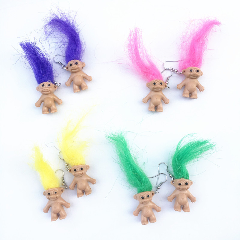 4# Unique Cool Burning Hair Earrings For Women Girls Retro Nostalgic Ugly Cute Doll Earrings Punk Exaggerated Creative Jewelry
