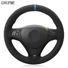 DIY ручной работы черная замша чехол рулевого колеса автомобиля для BMW M спортивные M3 E90 E91 E92 E93 E87 E81 E82 E88 X1 E84