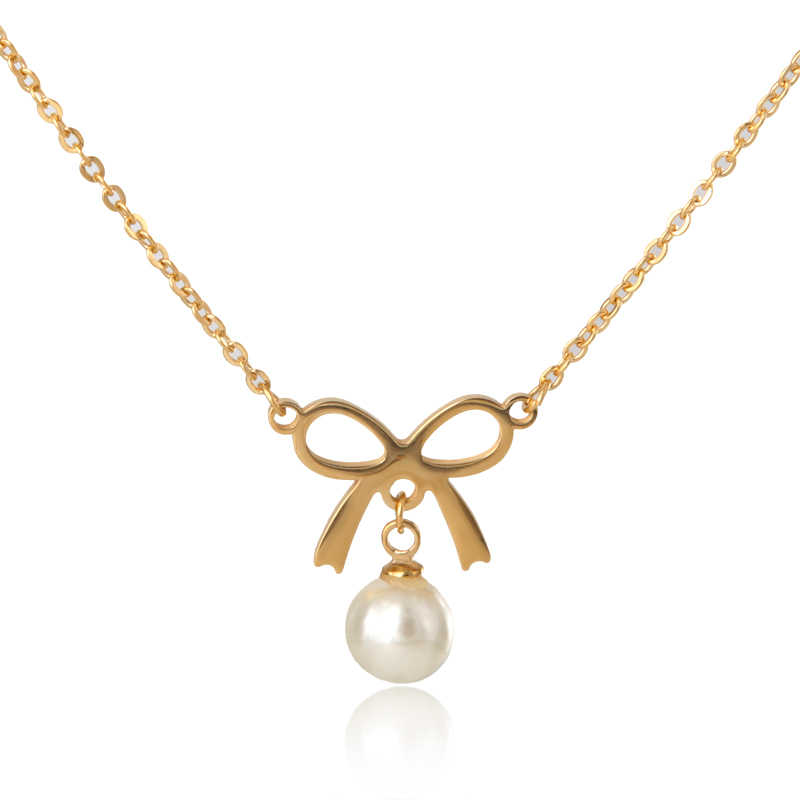 Cute Simulated Pearl Bowknot Necklace & Pendant Party Love Necklace Luxury Choker For Girl friends Women Jewelry