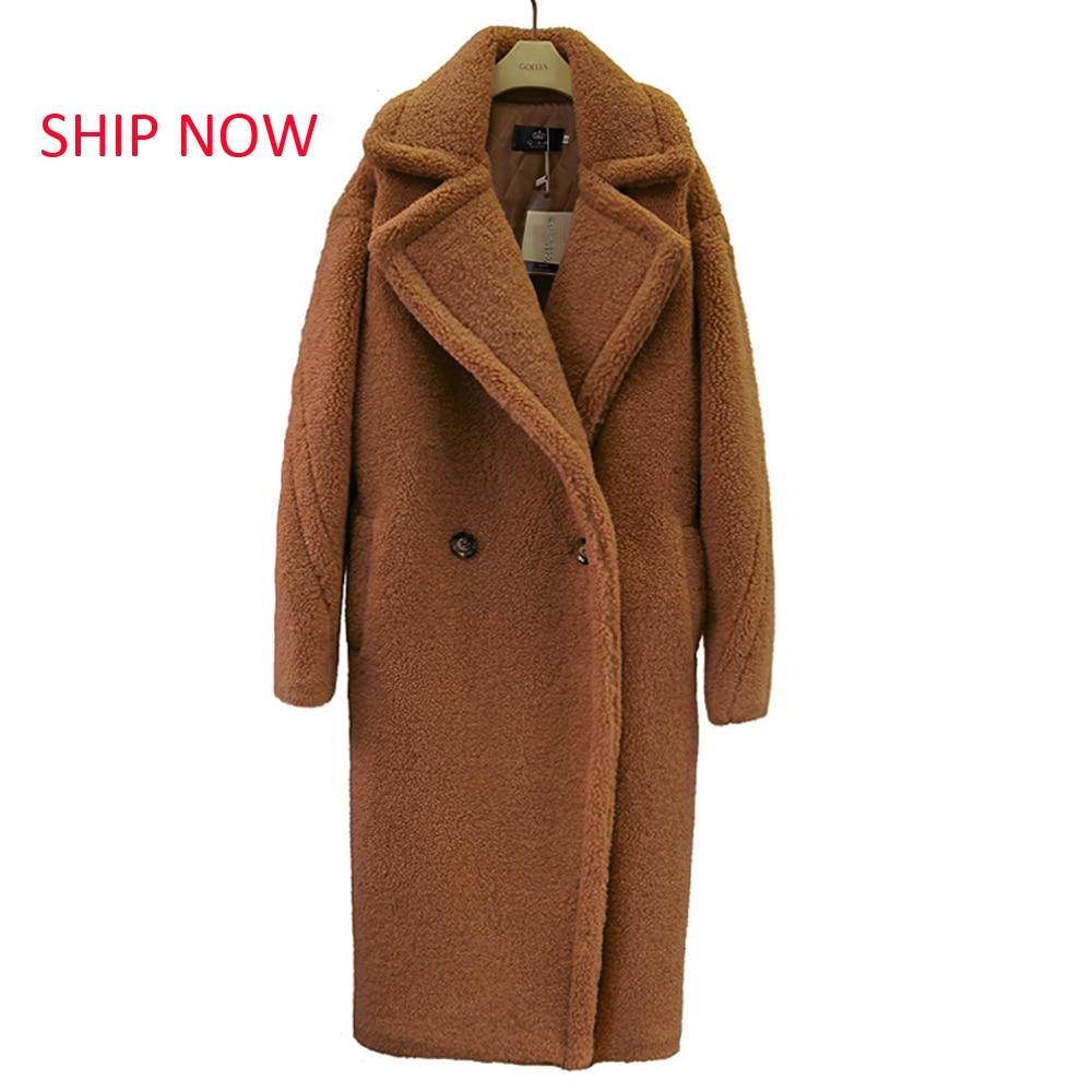 SHIP NOW 2019 New Teddy Coat Faux Fur Long Coat Women Lamb Fur Coat 10 Color Thick Coat
