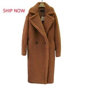 SHIP NOW 2019 new teddy coat faux fur long coat women lamb fur coat 10 color thick coat(China)