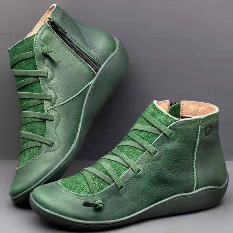 2019 Kış Deri Kadın Botları Sonbahar Retro Patik yarım çizmeler Platformu Çizmeler Kadın Kauçuk çizmeler kadın ayakkabıları Zapatos De Mujer