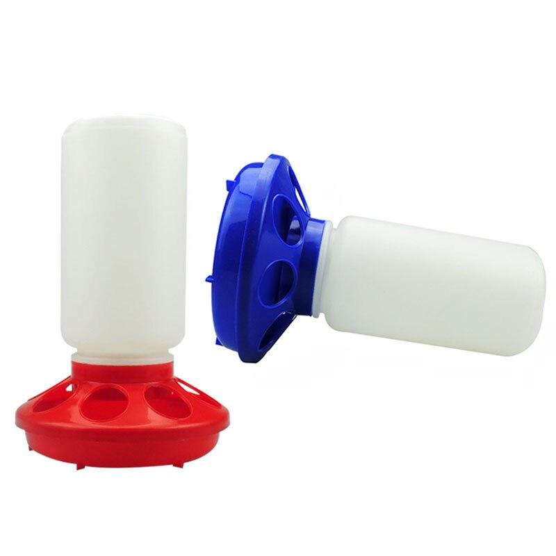 Aves domésticas frango beber ferramentas de alimentação vermelho/azul alimentadores de plástico codorniz alimentação balde aves pecuárias animais equipamentos novo