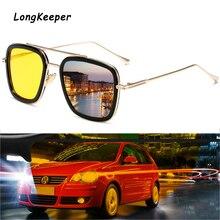 LongKeeper Classic Night Vision Sun Glassses Men Tony Stark Iron Man Metal Goggle Women Driving Pilot Square Sunglasses UV400