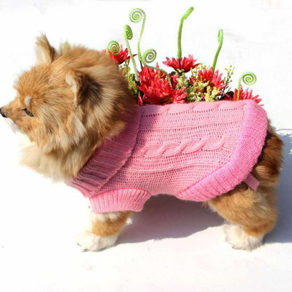 Pet sıcak örme Jumper katı renkler kedi köpek üç boyutlu çapraz örgü tığ kazak ceket ceket giyim Pet malzemeleri