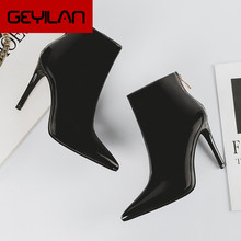 Leather Boots Women Heels Sexy Boots Black Ankle Boots For Women Shoes Winter Shoes Women Fashion Female+shoes Zapatos De Mujer(China)