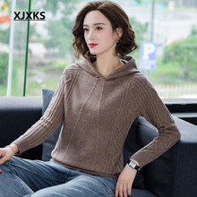 XJXKS Thick womens cashmere sweater 2019 autumn winter new fashion hooded comfortable knitted sweater womens pullover