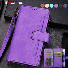 Luxury Flip Leather Zipper Wallet For Samsung Galaxy Note 20 Ultra 10 9 8 S21 FE S20 S10 E S9 S8 Plus S7 Edge Card Phone Cover
