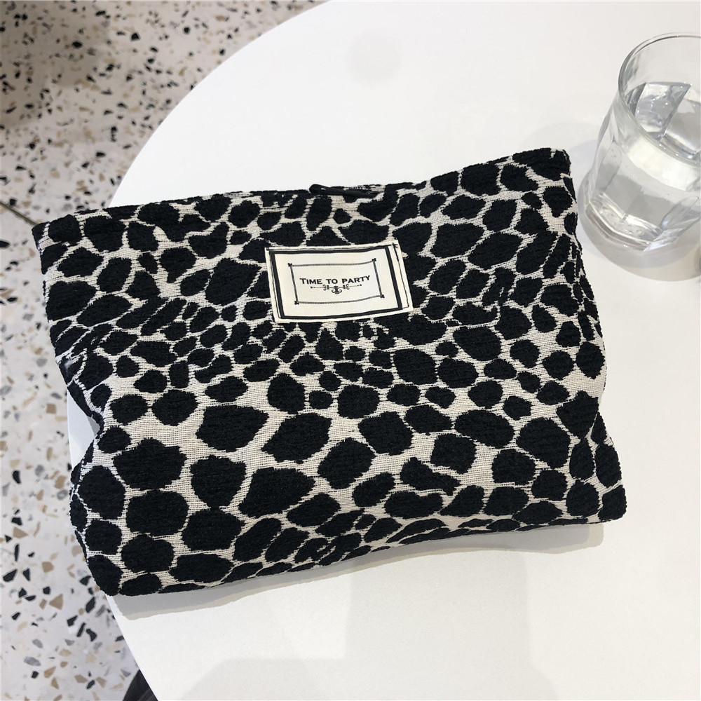 Fashion Leopard Print Cosmetic Bag Canvas Washing Bag Large Capacity Women Travel Cosmetic Pouch Make Up Storage Bags Clutches