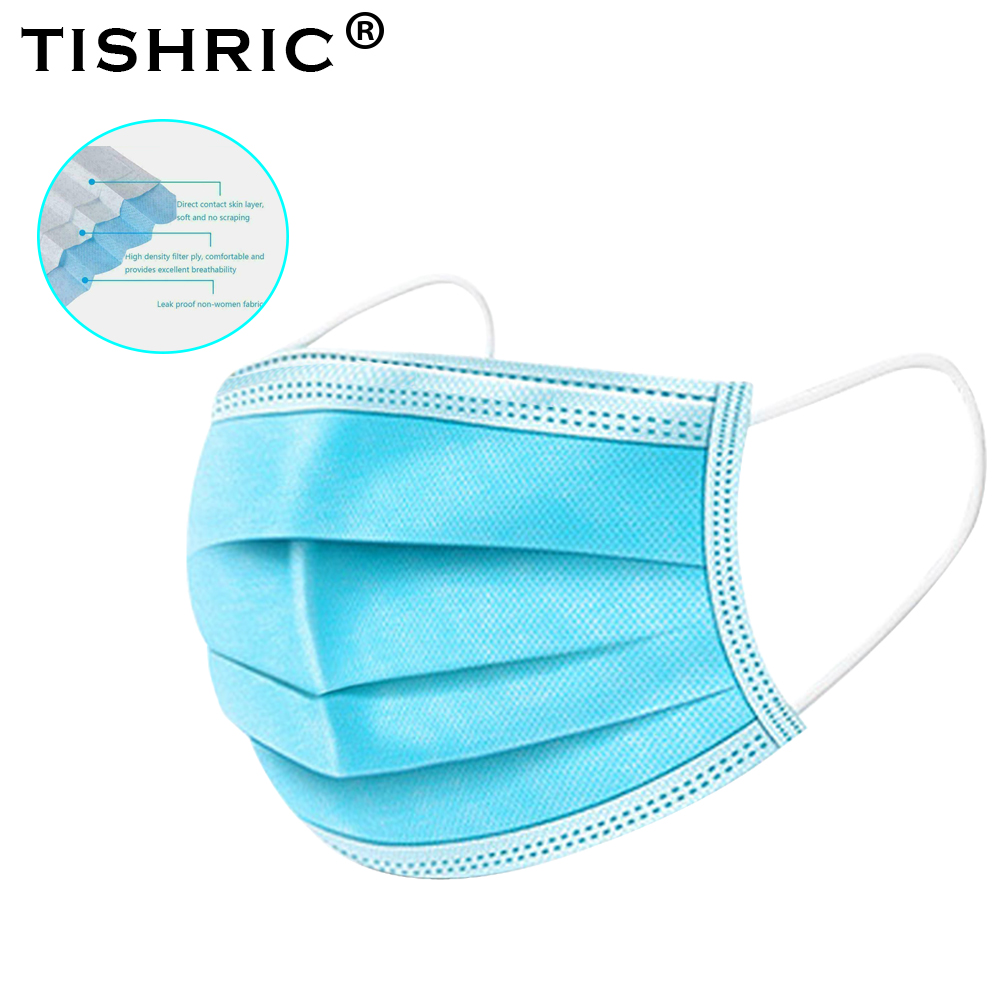 200pcs TISHRIC Disposable Mask Aerial Droplets Saliva Particulate Pollution Respirator Dust Mask Filter Protective Face Masks