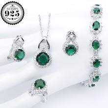 Green Zircon Silver 925 Costume Jewelry Sets For Women Bracelets Clips Earrings With Stones Pendant Necklace Rings Set Gift Box