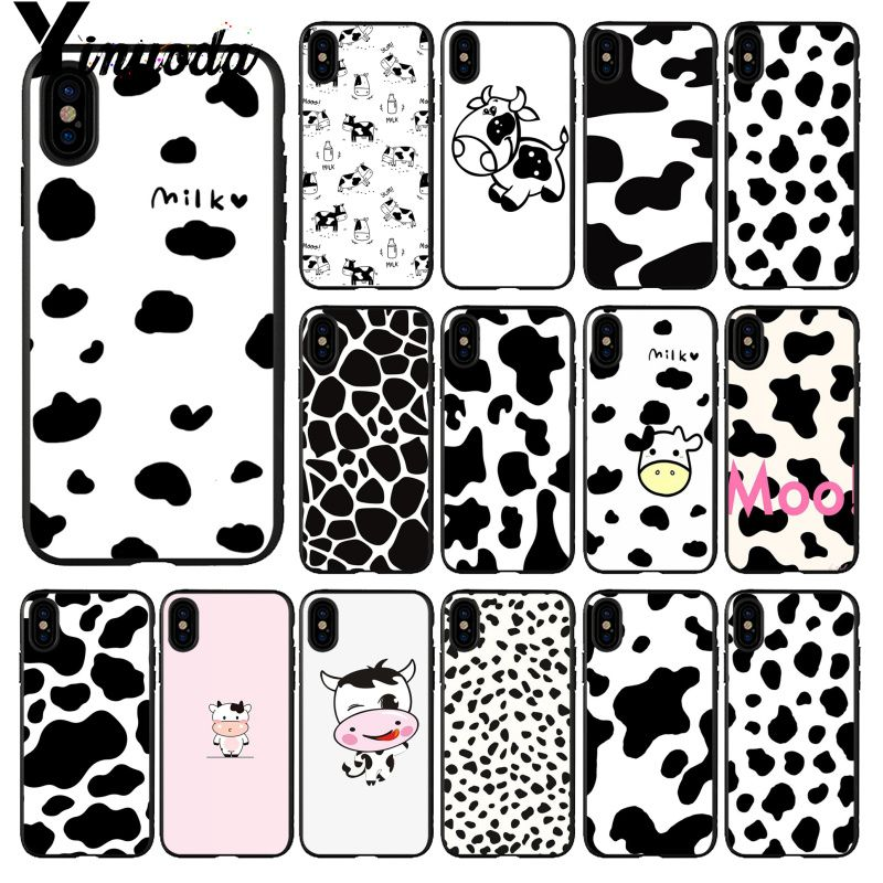 Yinuoda White Black Cow spots Symbol Pattern Phone Cover for Apple iPhone 8 7 6 6S Plus X XS MAX 5 5S SE XR 11pro max Cellphones