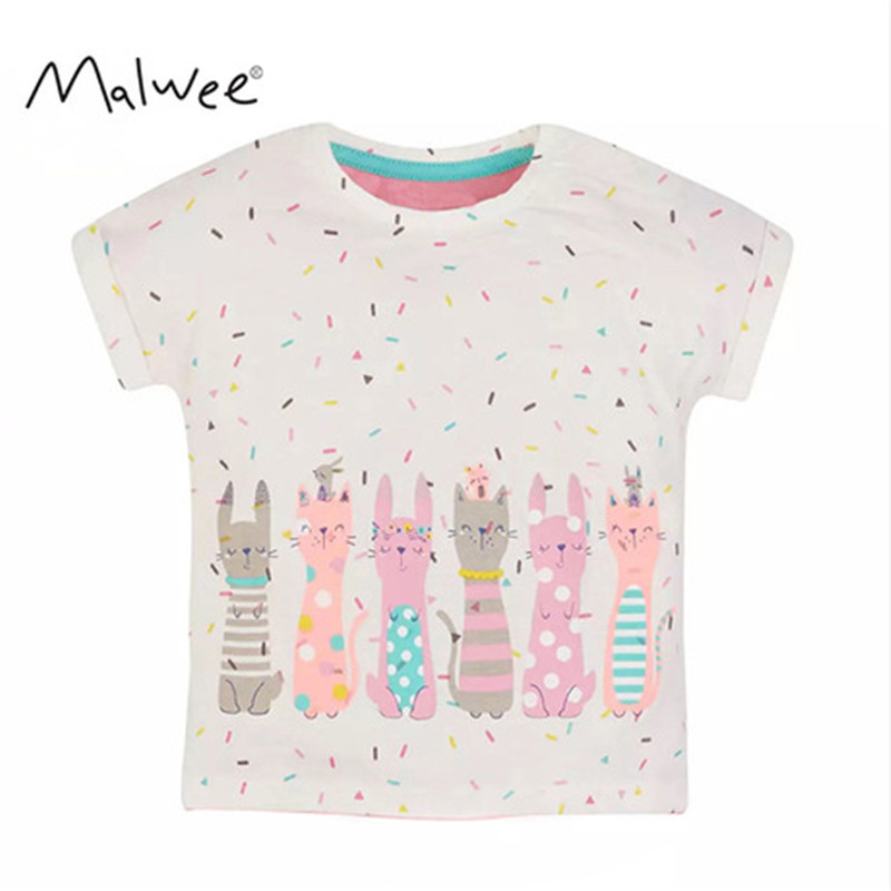 MISS HAIWO 2020 New Summer Baby Kids Girl Short Sleeve O-neck TShirt Printing Six Cartoon Rabbit Tee Tops For 1-7 Years Girl
