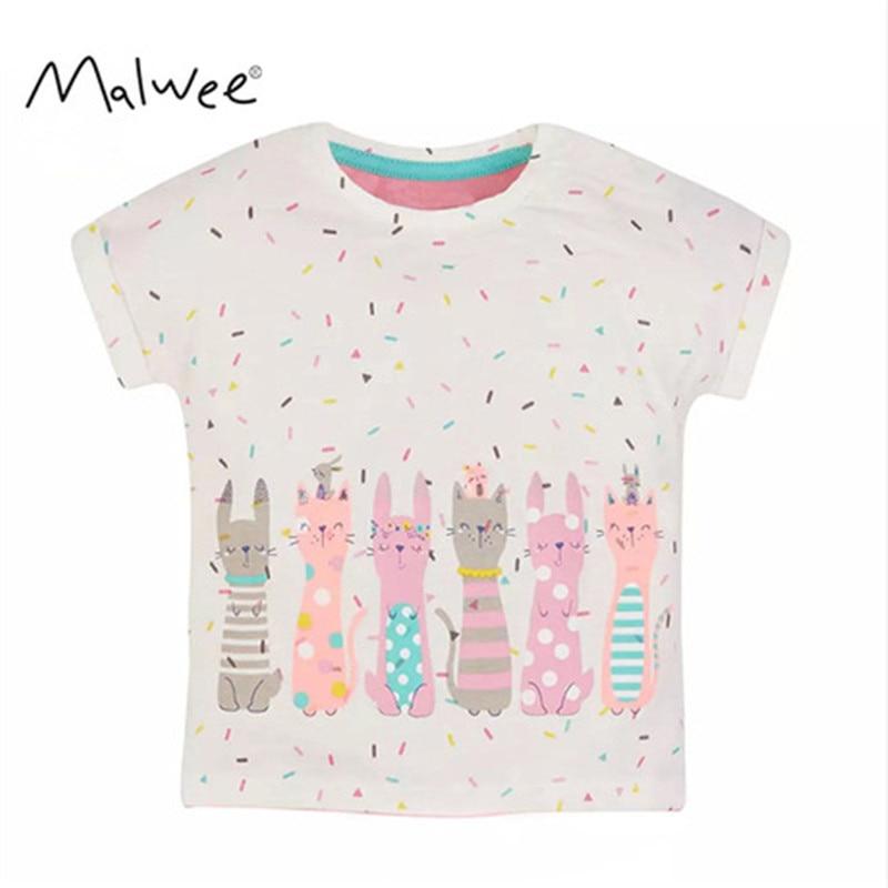 MISS HAIWO 2020 New Summer Baby Kids Girl Short Sleeve O-neck TShirt Printing Six Cartoon Rabbit Tee Tops For 1-7 Years Girl