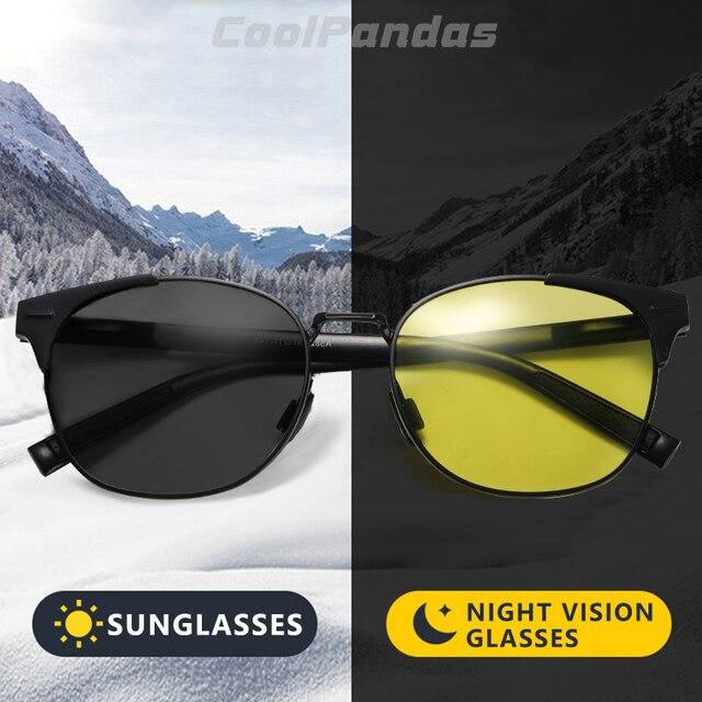 Солнцезащитные очки поляризационные для мужчин и женщин, умные фотохромные круглые очки дневного и ночного видения, для вождения