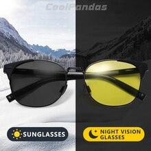 Fotochromic inteligente redondo polarizado óculos de sol dia das mulheres óculos de visão noturna condução descoloração gafas de sol hombre