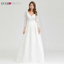 Элегантные свадебные платья Ever Pretty EP00707WH А-силуэт v-образный вырез длинный рукав кружева Иллюзия Свадебные платья для невесты Robe De Mariee